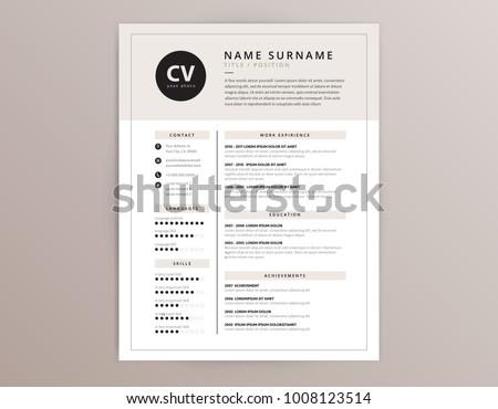 CV / resume template - elegant stylish design - beige color background vector