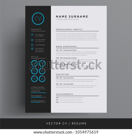 CV / resume template - stylish dark gray and blue design sample
