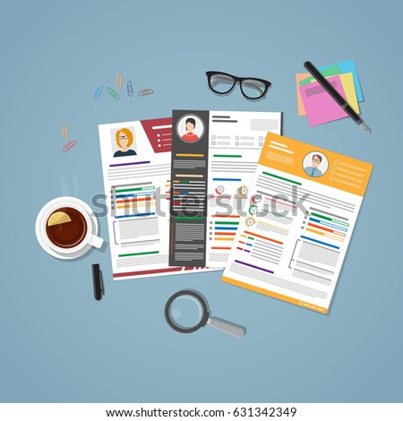 Cv set in flat style with things for recruitment. Resume of different people on desk to choose the right employee for your post. The concept of hiring for work.