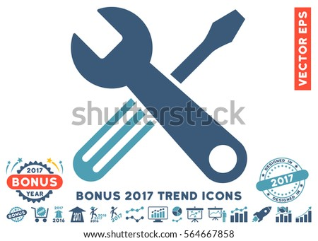 Cyan And Blue Tools pictograph with bonus 2017 trend symbols. Vector illustration style is flat iconic bicolor symbols, white background.