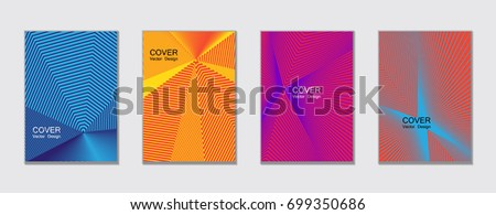 Cyan blue, pink and yellow halftone covers vector template with lines. Title places. Vector journal design geometric shape background set, halftone lines hipster pattern abstract covers collection. #699350686