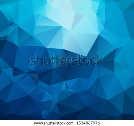 Cyan blue triangles grid abstract polygonal background. Geometric low poly pattern, tile backdrop template. Rectangular blue banner background with triangle gradient polygons.