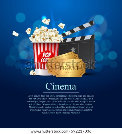 Cyan Cinema Movie Design Poster design. Vector template banner for movie premiere or show with seats, popcorn box, clapperboard and gold tickets