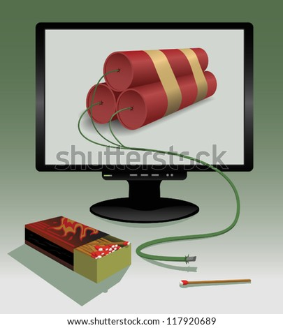Cyber Attack - A fused virtual bomb ready for detonation.