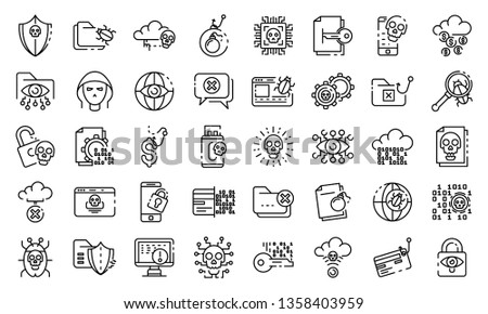 cyber attack icons set outline