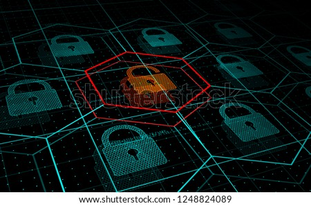 Cyber attack, system under threat, DDoS attack. Camera flies frough HUD blue hexagons and padlocks, but one of them hacked. Cyber security and hacking concept. Vector illustration. Stock photo ©