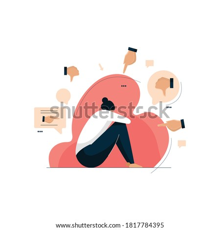 cyber bullying, depressed woman sitting on the floor, social media side effects Сток-фото ©