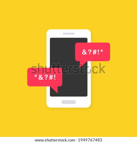 Cyber bullying icon on yellow background. Cyberbullying victim. Abuse, internet hate, swear and insult concept. Cyberbullying online chat in smartphone. Icon vector illustration. Stock photo ©