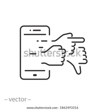 cyber bullying icon, online bully persecution, hate attack, abuse user, thin line symbol on white background - editable stroke vector illustration Stockfoto ©