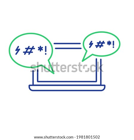 Cyber Bullying Line Icon. Cyberbullying Victim. Abuse, Internet Hate, Swear and Insult concept. Line Icon of Cyberbullying Online Chat in Laptop. Editable stroke. Vector illustration. Stock photo ©