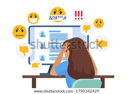 Cyber bullying people vector illustration. Cartoon flat sad young bullied girl character sitting in front of computer with online dislike in social media, cyber bully mockery problem isolated on white Stock foto ©