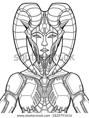 cyber character close up  queen