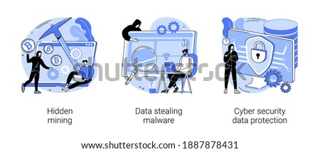 Cyber crime abstract concept vector illustration set. Hidden mining, data stealing malware, cyber security data protection, miner bot, script development, hacker attack, cyberattack abstract metaphor.