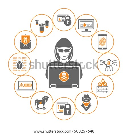 Cyber Crime Concept for Flyer, Poster, Web Site, Printing Advertising Like Hacker, Virus and Spam Flat Icons. Isolated vector illustration.