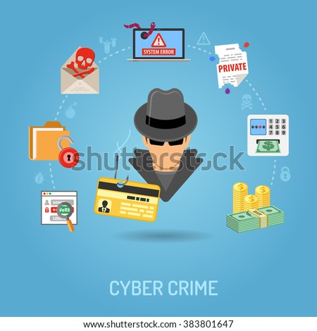 cyber crime concept with flat