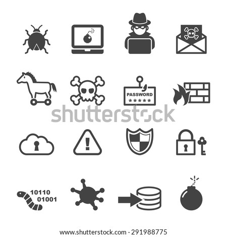 cyber crime icons  mono vector