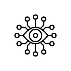 Cyber eye thin line icon, electronic eye, biotechnology, bionic eye. Modern vector illustration.