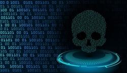 cyber hacker attack background, skull vector
