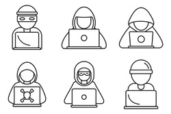 Cyber hacker icons set. Outline set of cyber hacker vector icons for web design isolated on white background