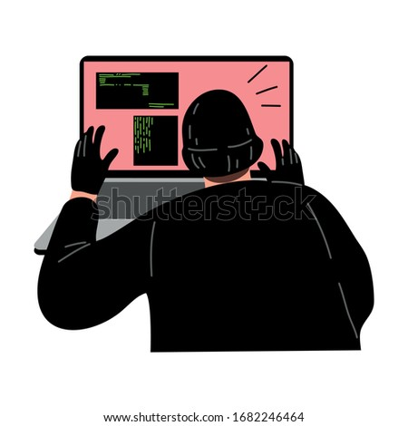 Cyber hacker thief stealing secret user information from the laptop. Vector illustration in flat cartoon style.