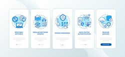 Cyber hygiene tips onboarding mobile app page screen with concepts. Antivirus, regular backups, passwords walkthrough 5 steps graphic instructions. UI vector template with RGB color illustrations
