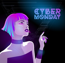 Cyber monday and Black Friday runner. Cyberpunk cyborg girl vector illustration
