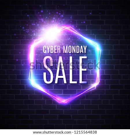 8e54c9a230 Cyber monday background with neon light vintage frame. Hexagon logo on blue  dark brick wall
