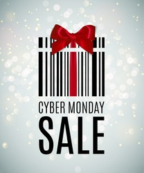 Cyber monday background with Present barcode. Sale concept. Vector illustration