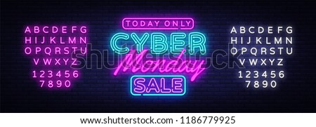Cyber Monday banner in fashionable neon style, luminous signboard, nightly advertising advertisement of sales rebates of cyber Monday. Vector Illustration. Editing text neon sign