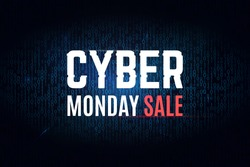 Cyber monday binary background. Annual sale illustration