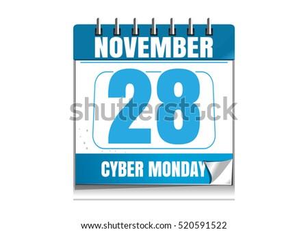 cyber monday calendar blue