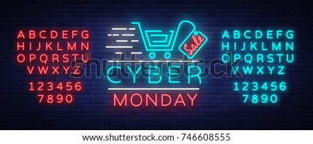 Cyber Monday concept banner fashionable neon style, luminous signboard, nightly advertising advertisement of sales rebates of cyber Monday. Vector illustration. Editing text neon sign. Neon alphabet