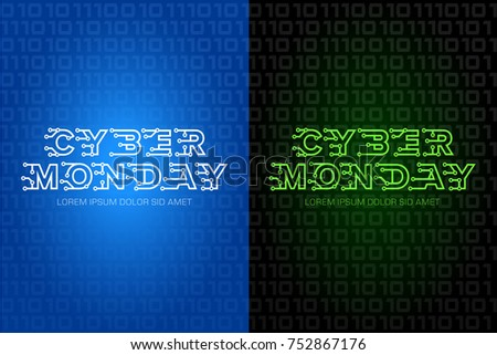 Cyber monday logo design template with technology letters, isolated vector illustration. Cyber monday background.