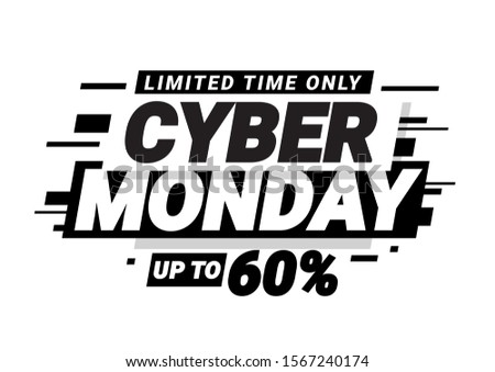 Cyber monday promotion banner. Poster template. Vector illustration
