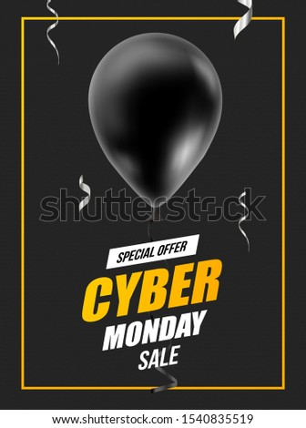 Cyber Monday Sale Abstract Background. Air balloons and ad text. Vector ad poster for holiday discounts and sales.