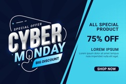 Cyber Monday sale banner template for business promotion vector illustration