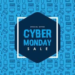 Cyber Monday Sale design on Computer technology seamless pattern. Vector Illustration