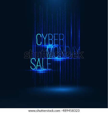 Cyber monday sale 2017 illustration . Big global sale . Geometric technology shape of glowing particles and numerals . Vector background . Technology poster with glitch effect . Matrix background