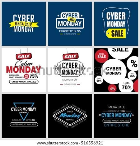 cyber monday sale label set