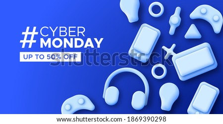Cyber monday web template illustration for online store discount or special offer. Technology promotion background with blue 3D devices. Includes mobile phone, heaphones and tablet gadget.