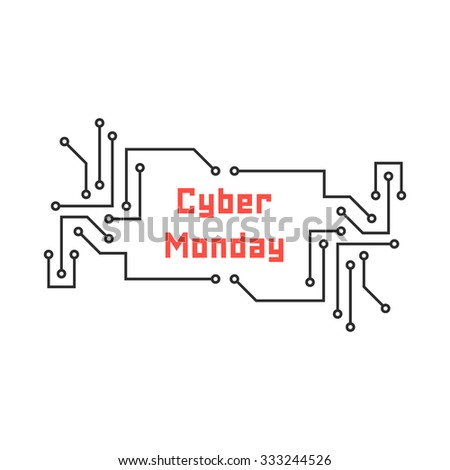 cyber monday with pcb elements. concept of black friday sale, motherboard, shopping, cheap, special offer. isolated on white background. flat style trend modern logo design vector illustration