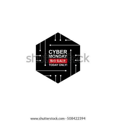 Cyber monday with pcb elements. Concept of black friday sale, motherboard, shopping, cheap, special offer. Isolated on white background. Banner, label, tag. Flat design. Vector art for your business.