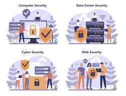 Cyber or web security concept set. Idea of digital data protection and safety. Modern technology and virtual crime. Protection information in internet. Flat vector illustration