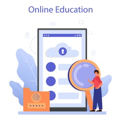 Cyber or web security specialist online service or platform. Idea of digital data protection and safety. Online education. Flat vector illustration
