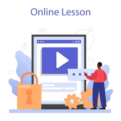Cyber or web security specialist online service or platform. Idea of digital data protection and safety. Online lesson. Flat vector illustration