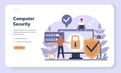 Cyber or web security web banner or landing page. Idea of digital data protection and safety. Modern technology and virtual crime. Protection information in internet. Flat vector illustration