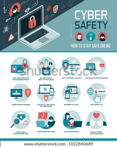 Cyber safety tips infographic: how to connect online and use social media safely, vector infographic with icons