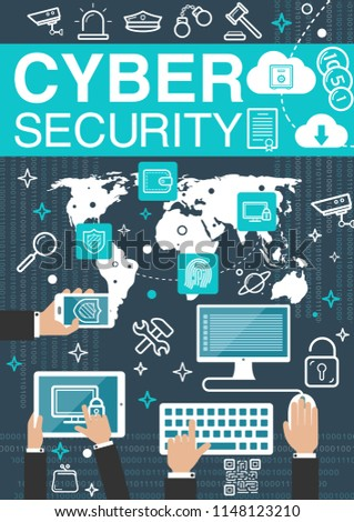 Cyber security and private network or data protection technology poster. Vector computer VPN and firewall online secure connection with fingerprint for user communication and cloud files sharing