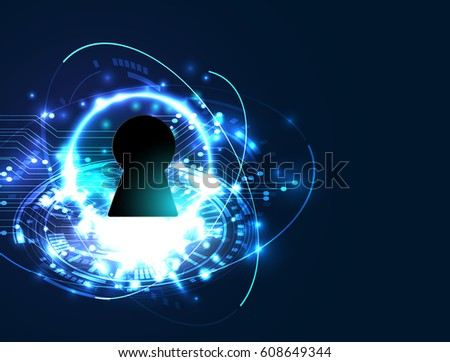 cyber security, Blue abstract hi speed internet technology background illustration. key vector