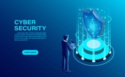 Cyber security concept banner with businessman protect data and confidentiality and data privacy protection concept with icon of a shield and lock. flat isometric vector illustration